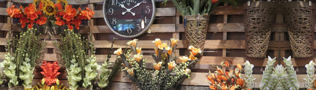 Flowers with Wall Clock