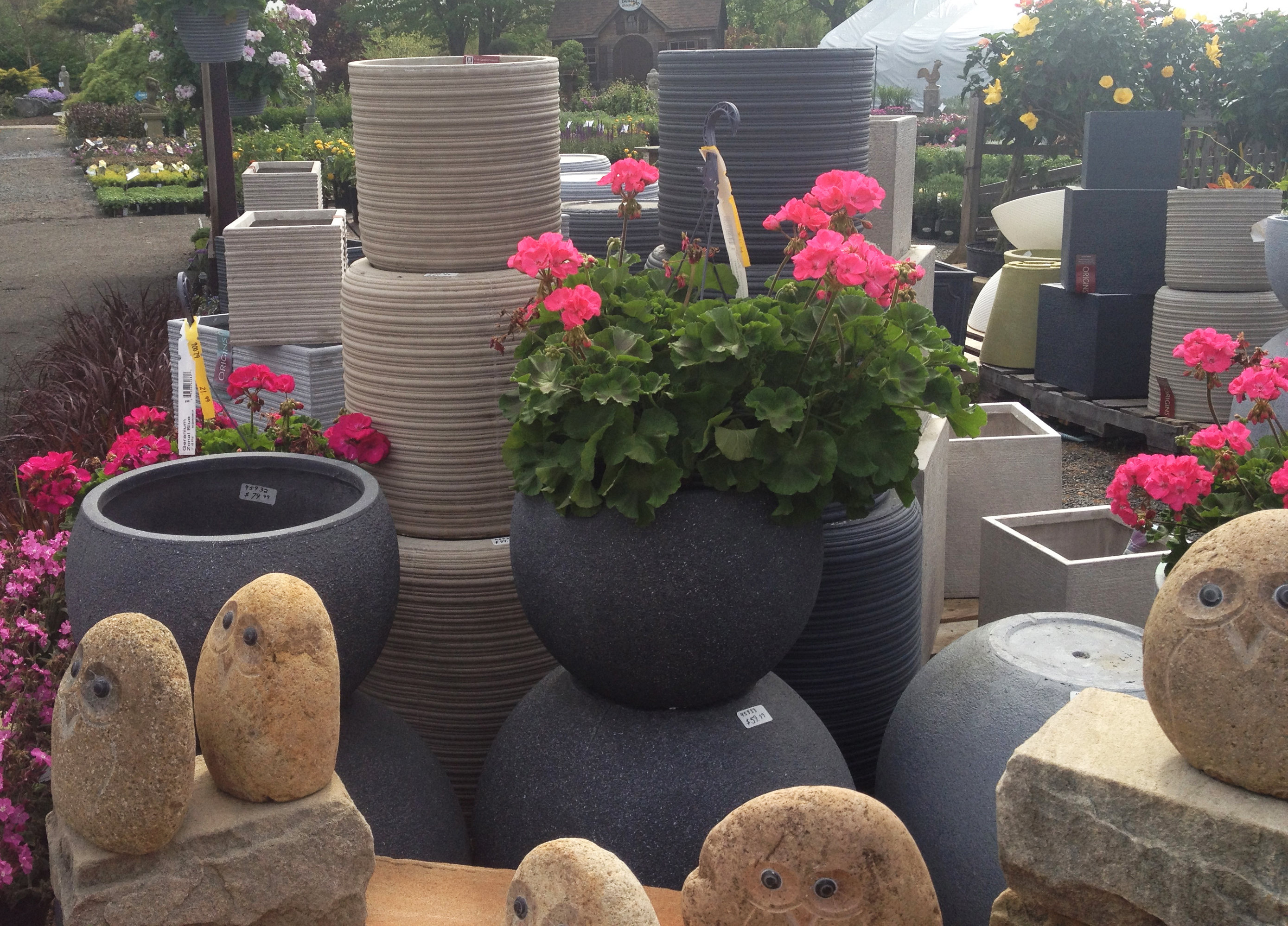 Planters, Pots, and Owl Statues