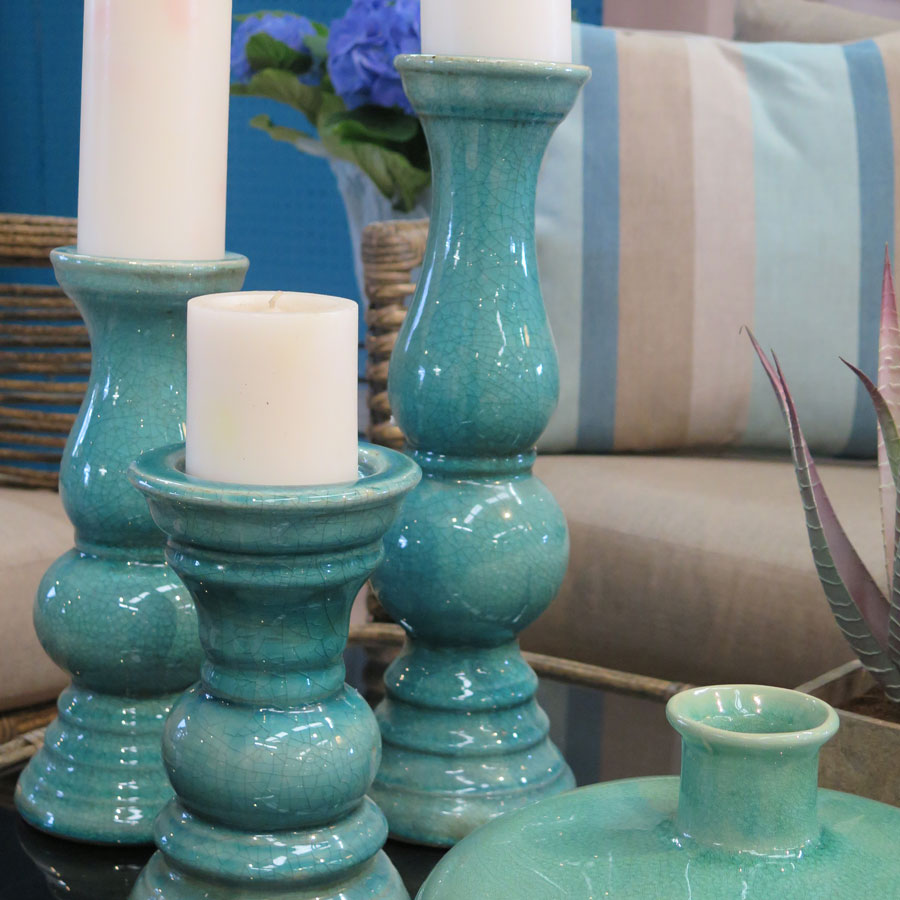 Turquoise Candle Holders and Vase