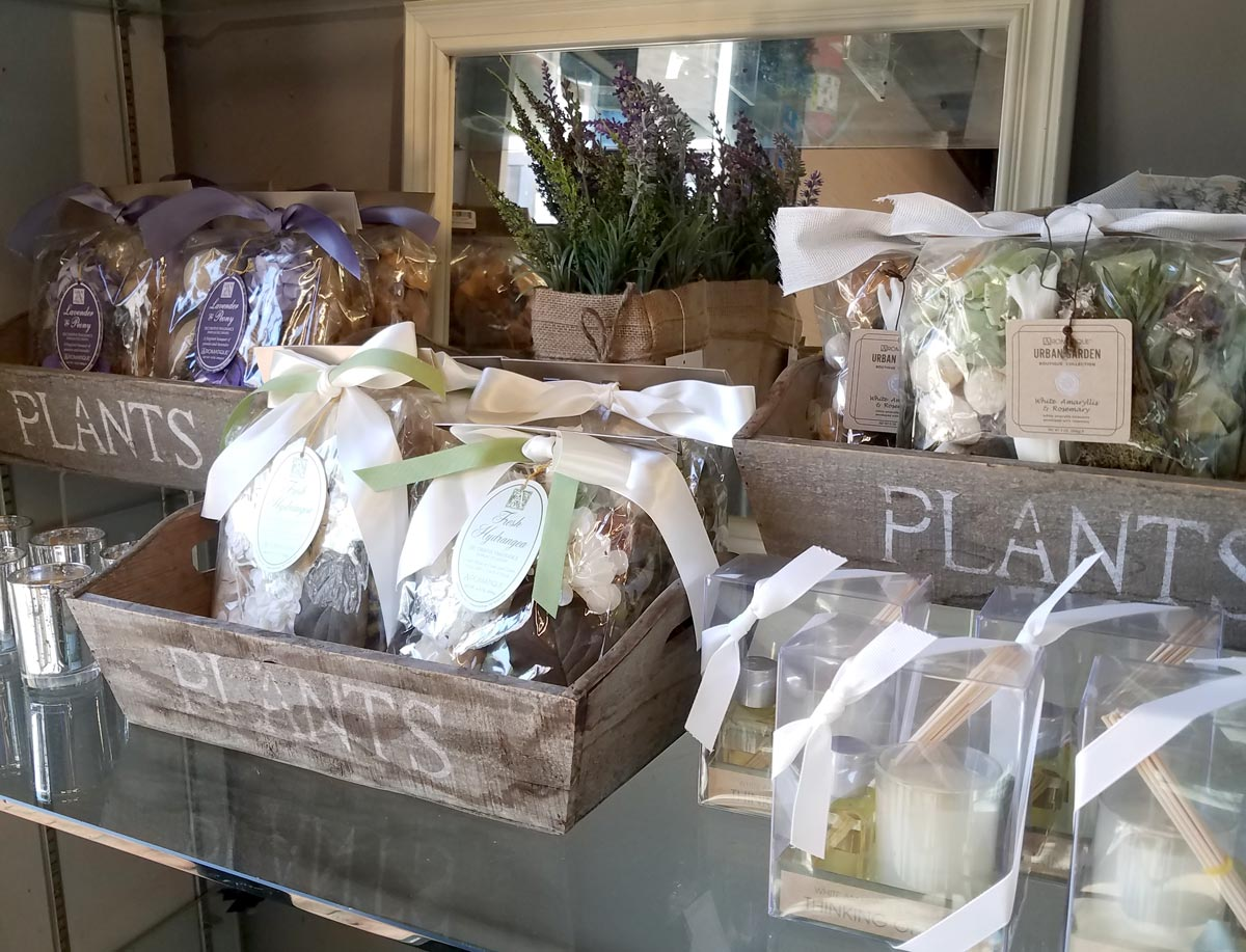 Decorative Wood Boxes with Potpourri and Candles
