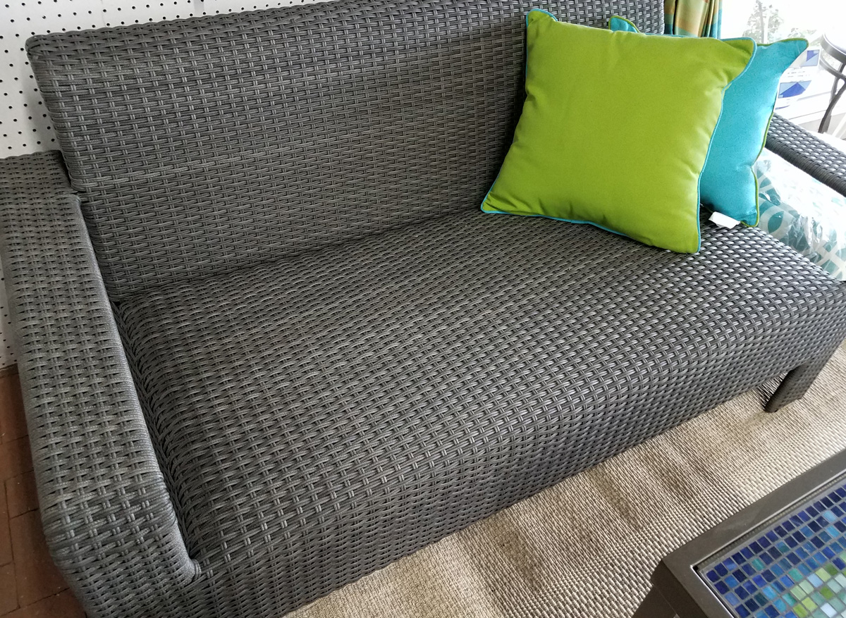 Modern Wicker Bench with Colorful Throw Pillows