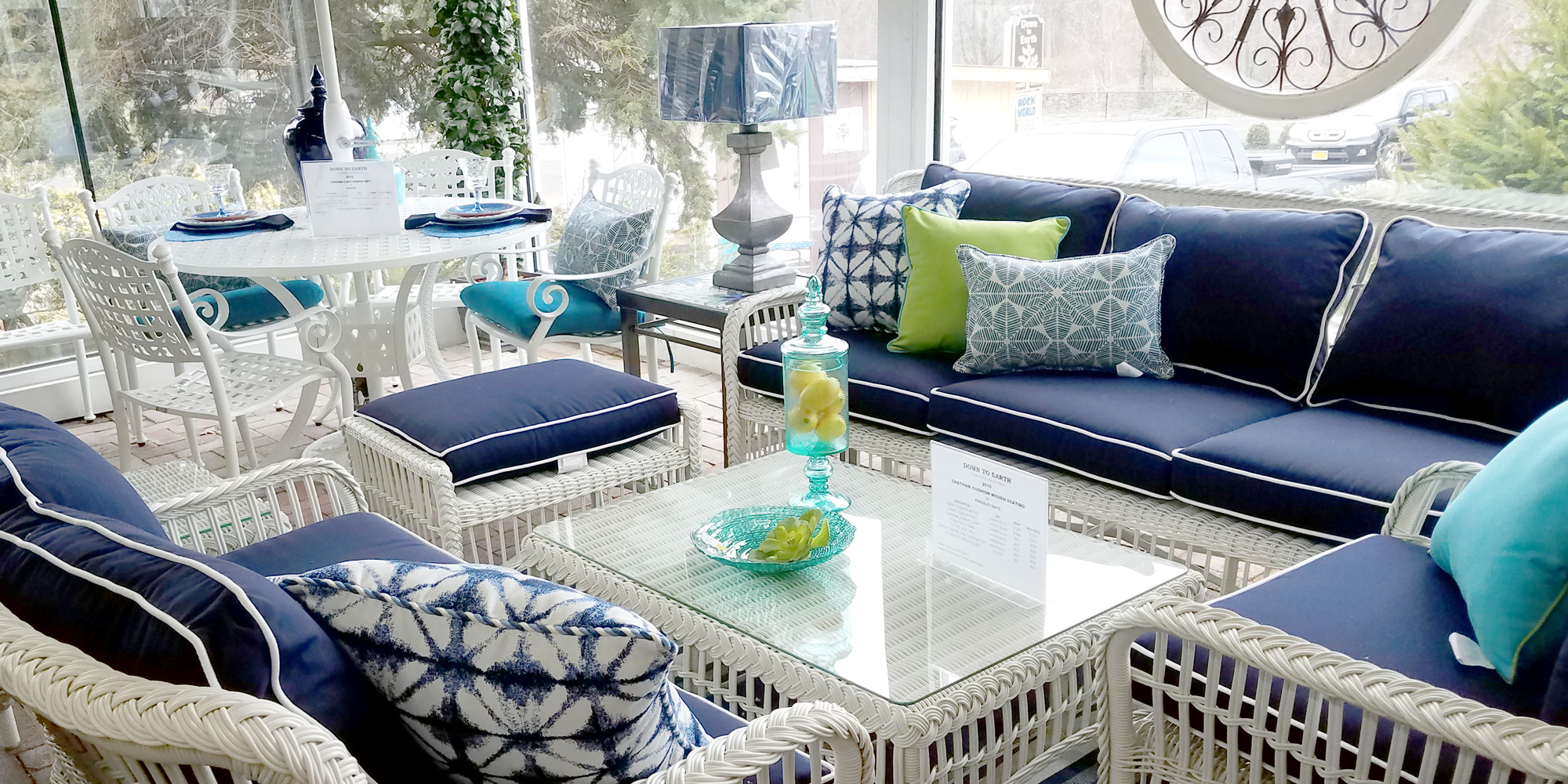 White Wicker with Blue Cushions