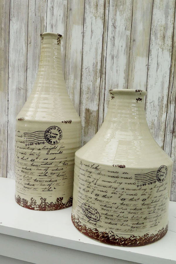 Antiqued Postcard Jugs