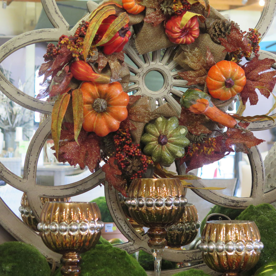 Fall Wreath and Decorative Chalices