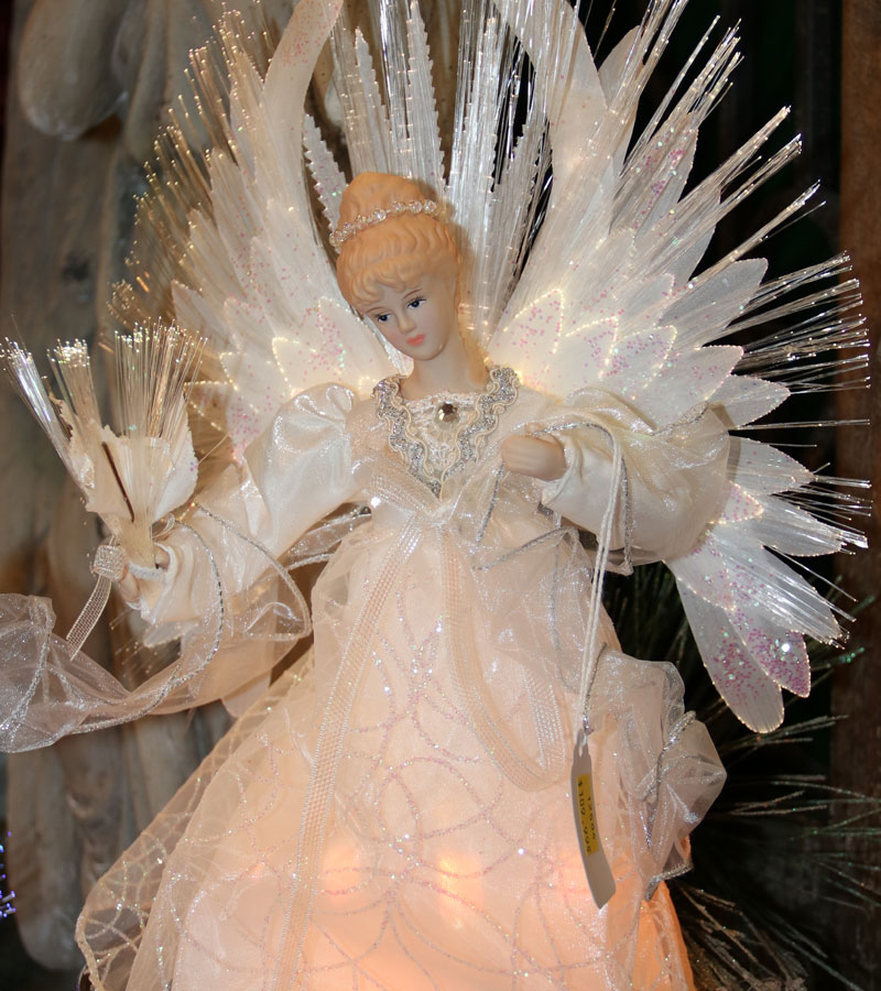 Treetop Angel with Fiber Optic Lights