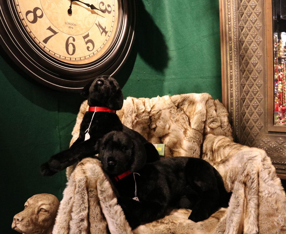 Plush dogs and Christmas Decor