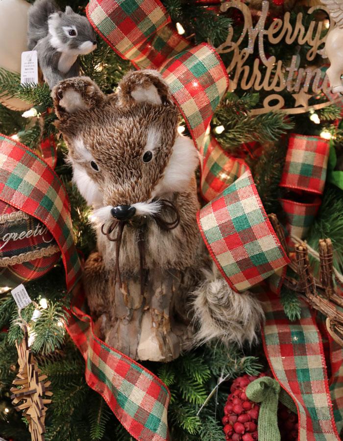 Adorable plush fox decoration