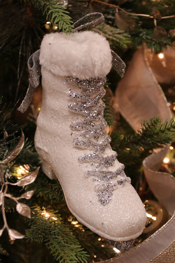 Christmas Ornaments with Glittery Snow Boot Decoration