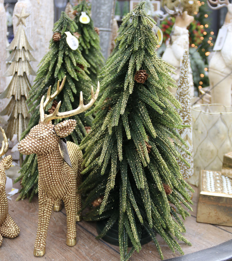 Gold Reindeer and Tree Figurines