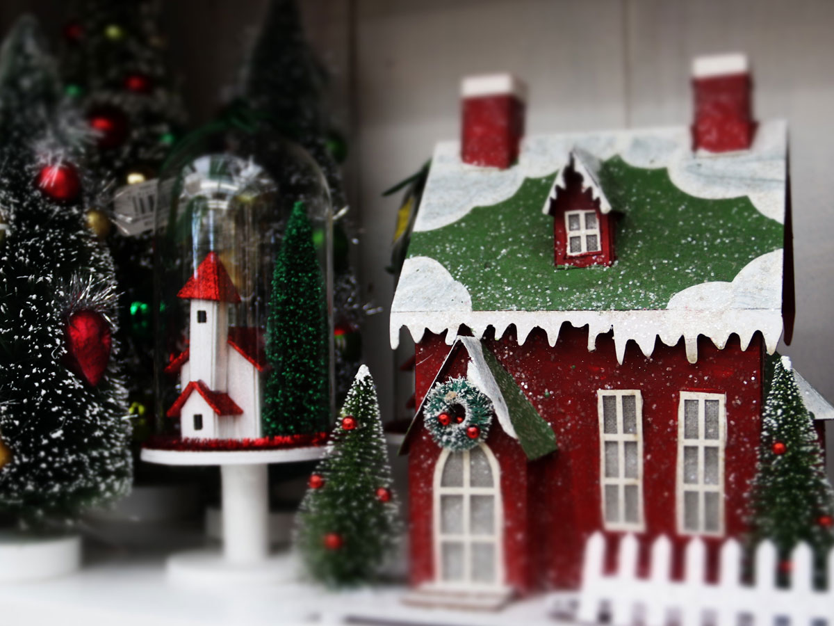Christmas Cottage, Church and Tree Collectibles