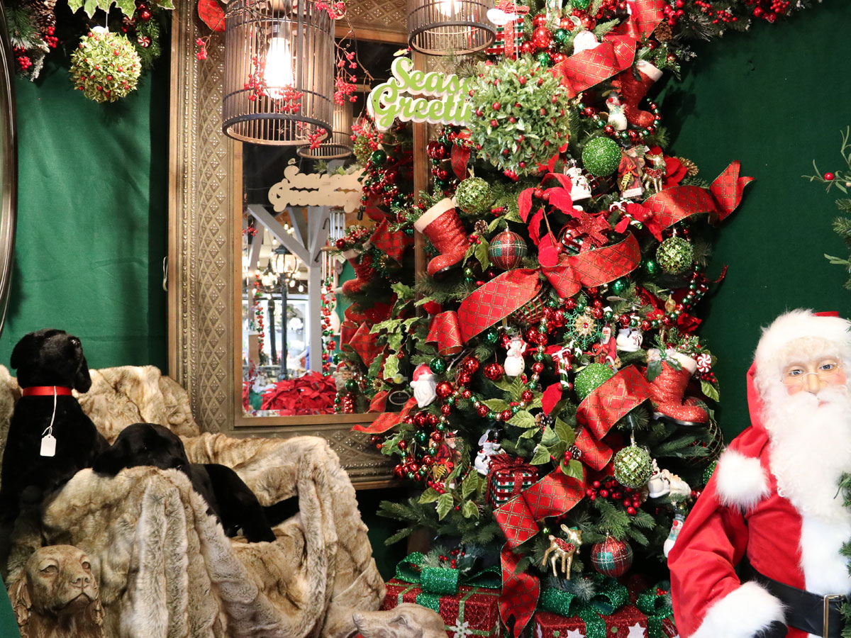 Decorated Artificial Tree, Faux Fur Throw with Dog and Santa Plush Figurines