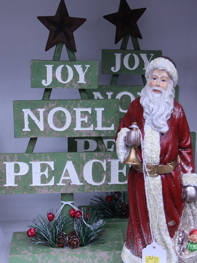 Santa Figurine with Joy Noel Peace sign