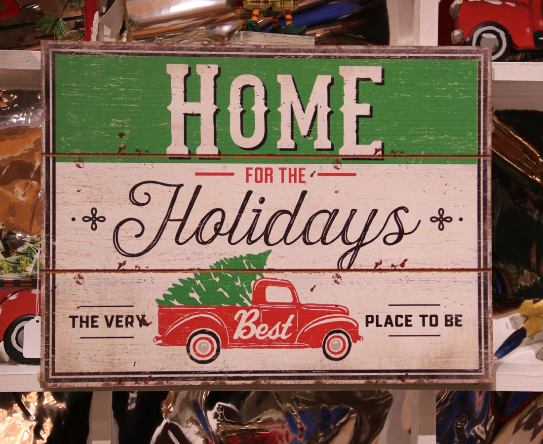 Home for the Holidays Sign and Collectible Model Trucks