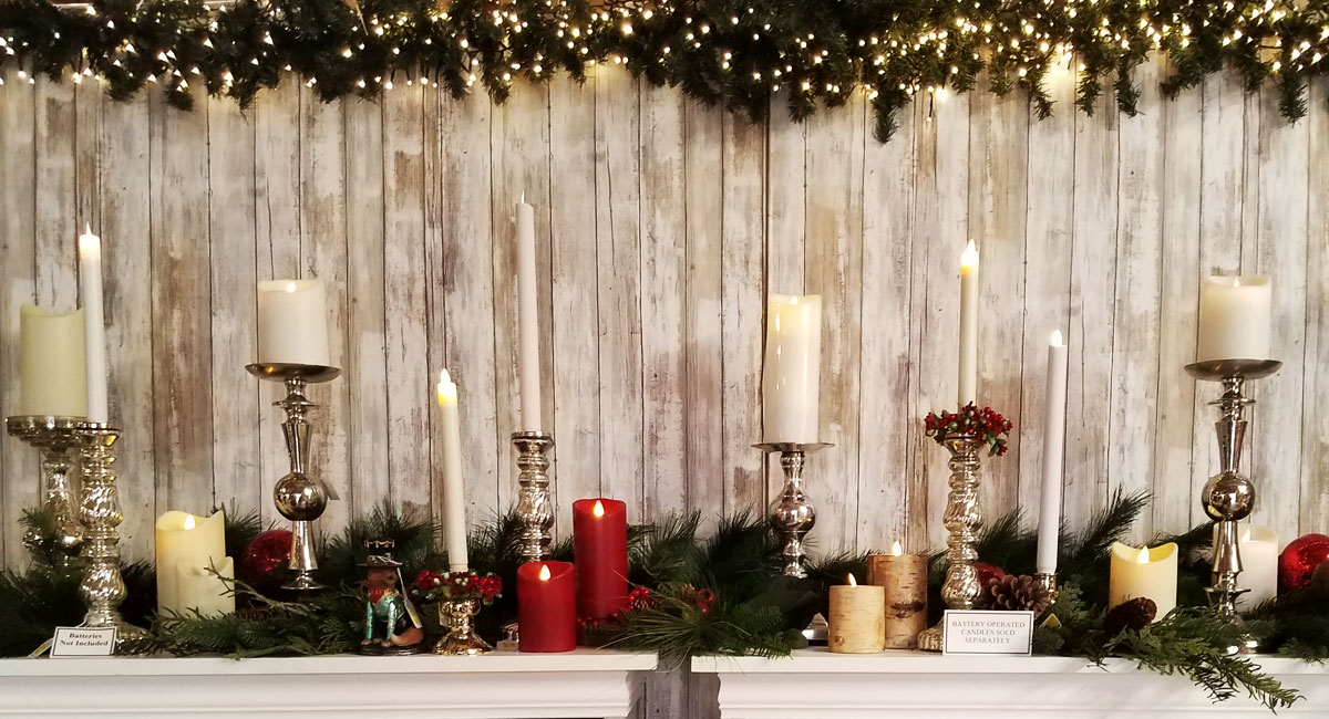 Candles, Garland, and Christmas Decorations