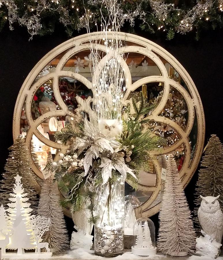 Mirror with Elegant White Christmas Decor