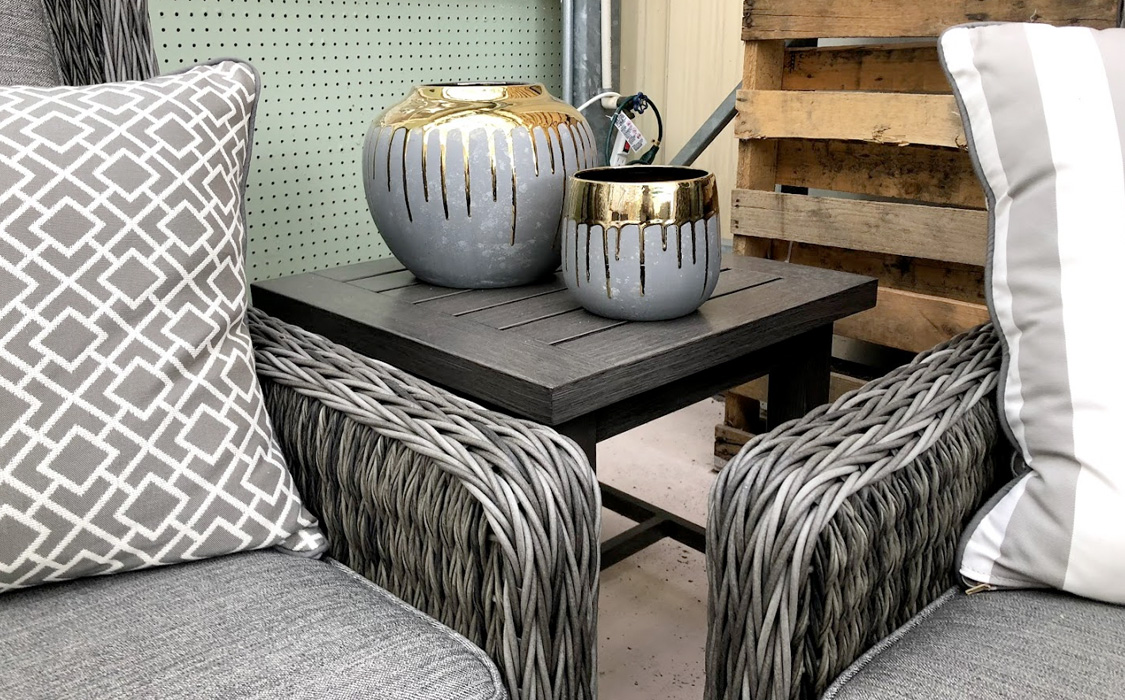 Wicker Chairs and Gray and Gold Drip Glaze Vases