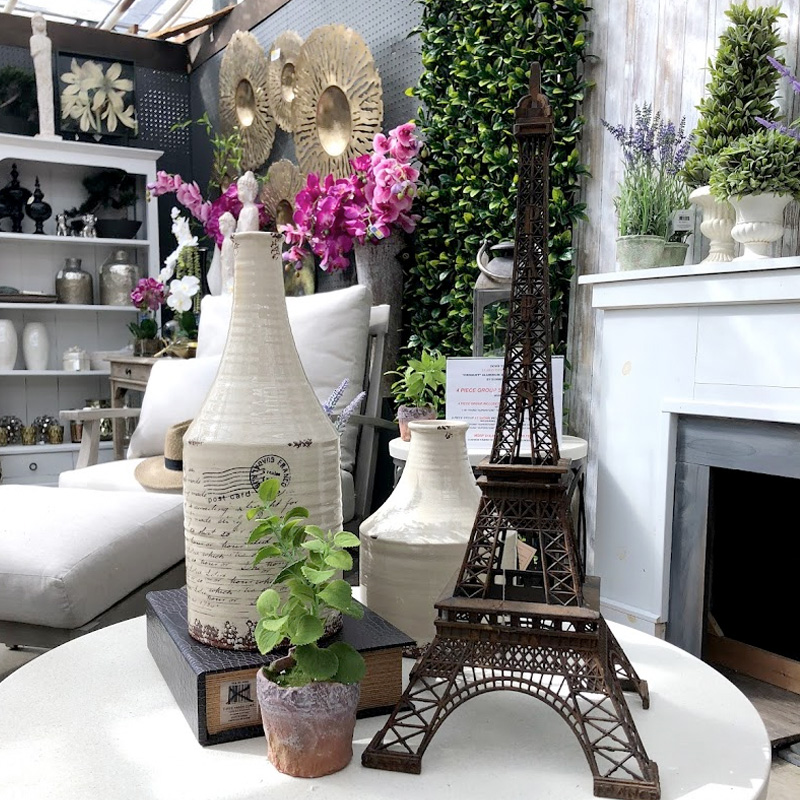 Replica Eiffel Tower and Ceramic Jugs