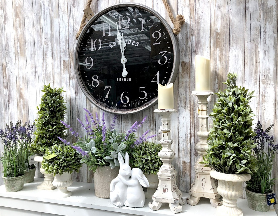 Large Wall Clock, Candleholders, Plants and Easter Decor