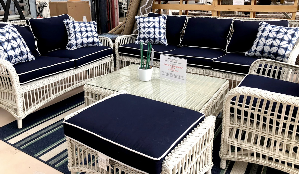 Blue and White Wicker Furniture Set