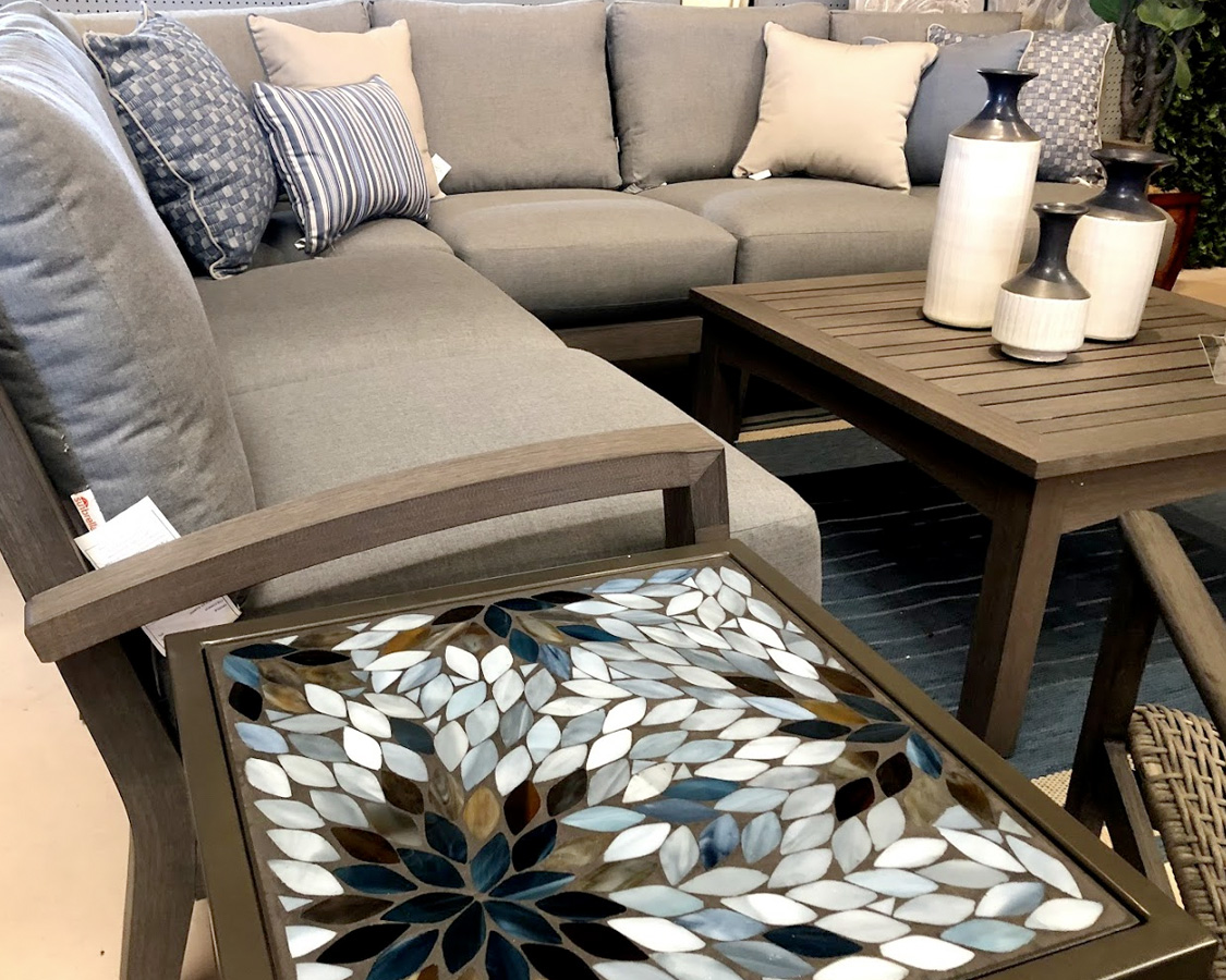 Blue and White Mosaic End Table and Deep Seating Set
