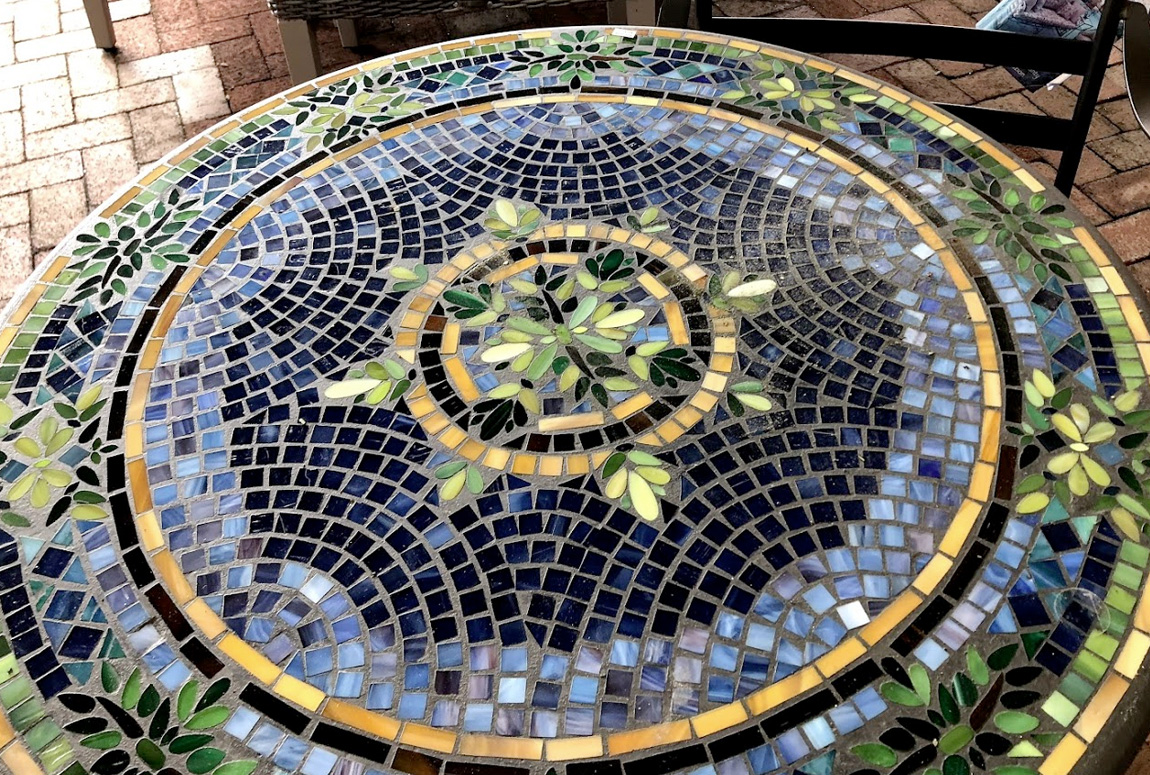 Blue, Green and Gold Mosaic End Table