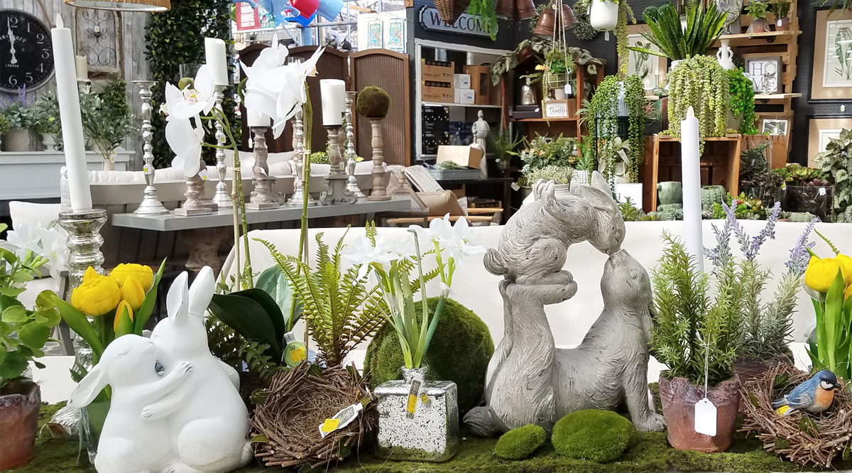 Elegant, Easter-themed decor, plants and flowers
