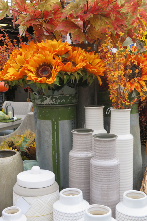 Fall Florals with Ceramic and Metal Vases