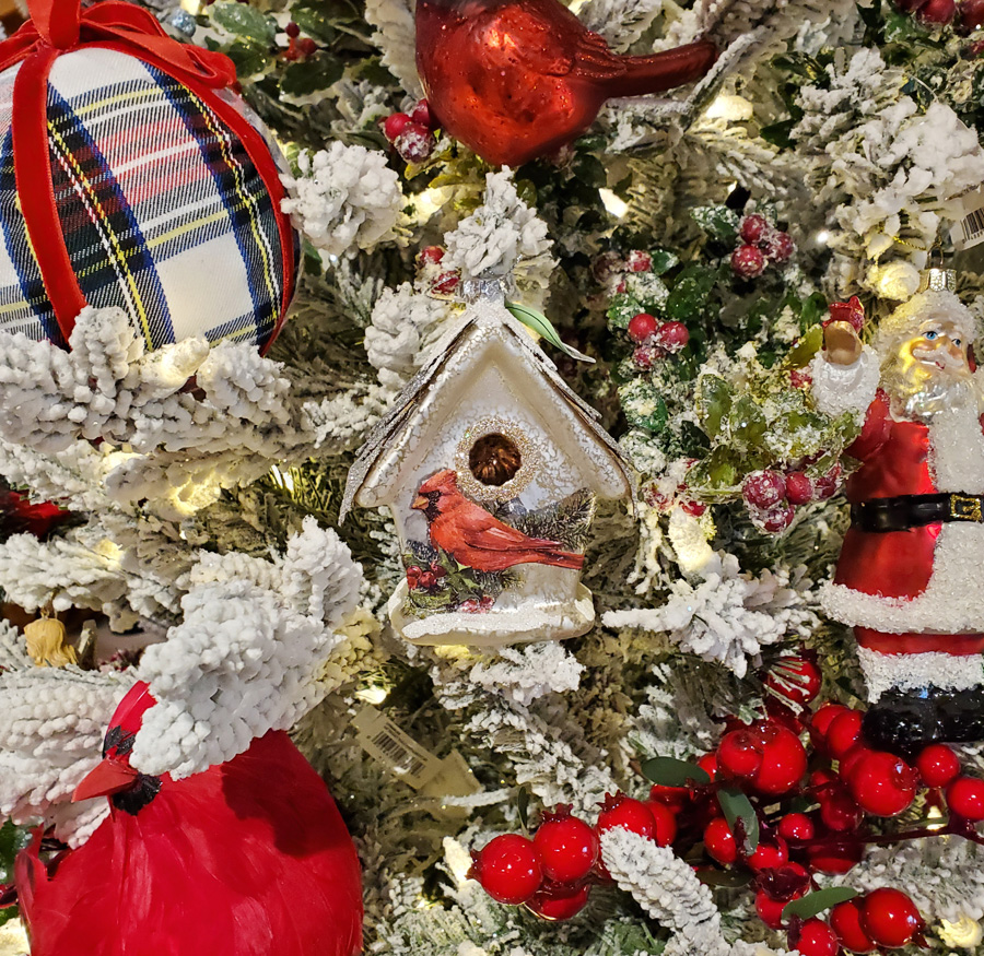 Flocked Artificial Tree with Santa and Birhouse Ornaments