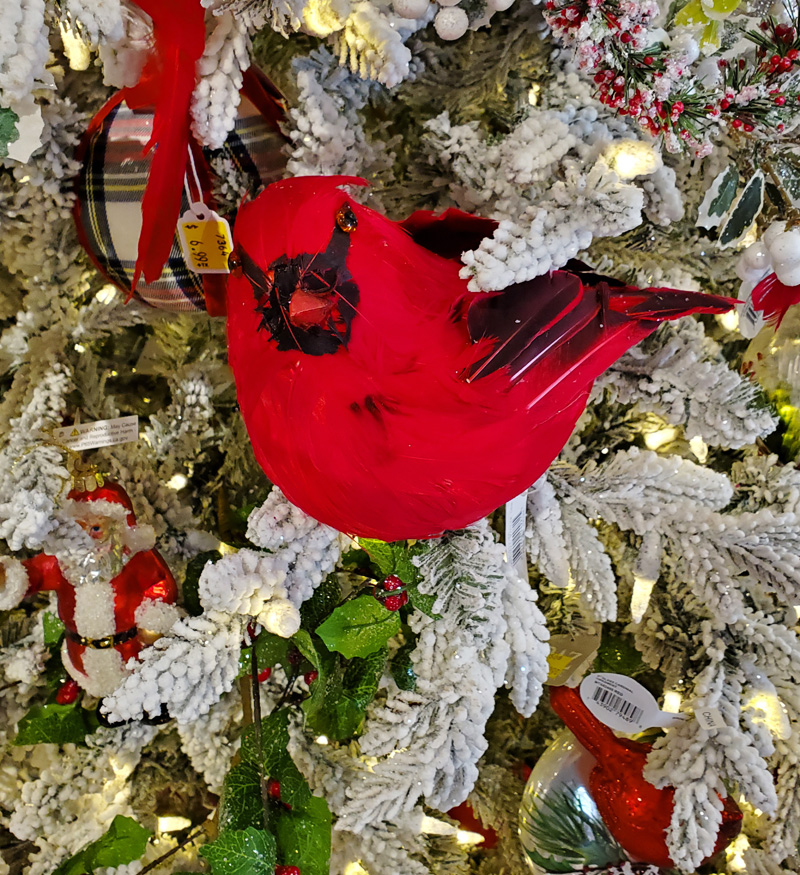 Flocked Christmas Tree with Cardinal Ornament