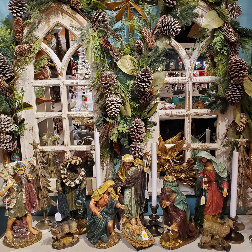 Christmas Nativity Scene with Garlands
