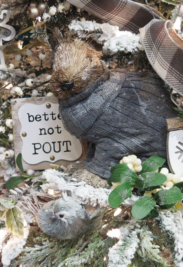 Cute Christmas Woodchuck Figurine