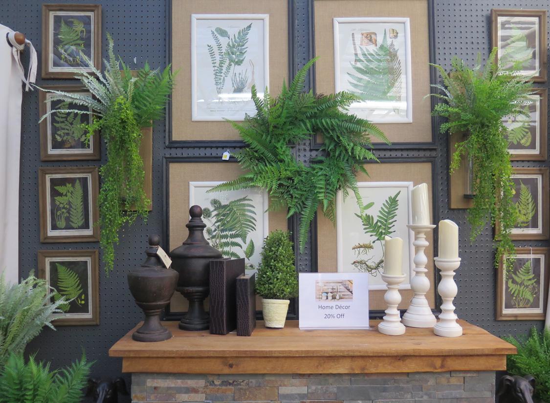 Floral-themed Framed Artwork, Fern Wreaths, and Stylish Home Decor