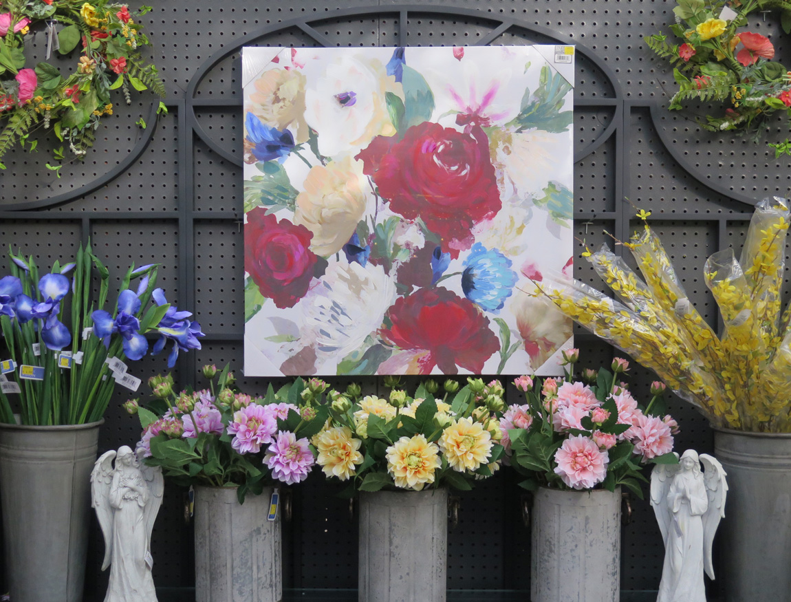 Flowers, Metal Stands and Floral Paintings