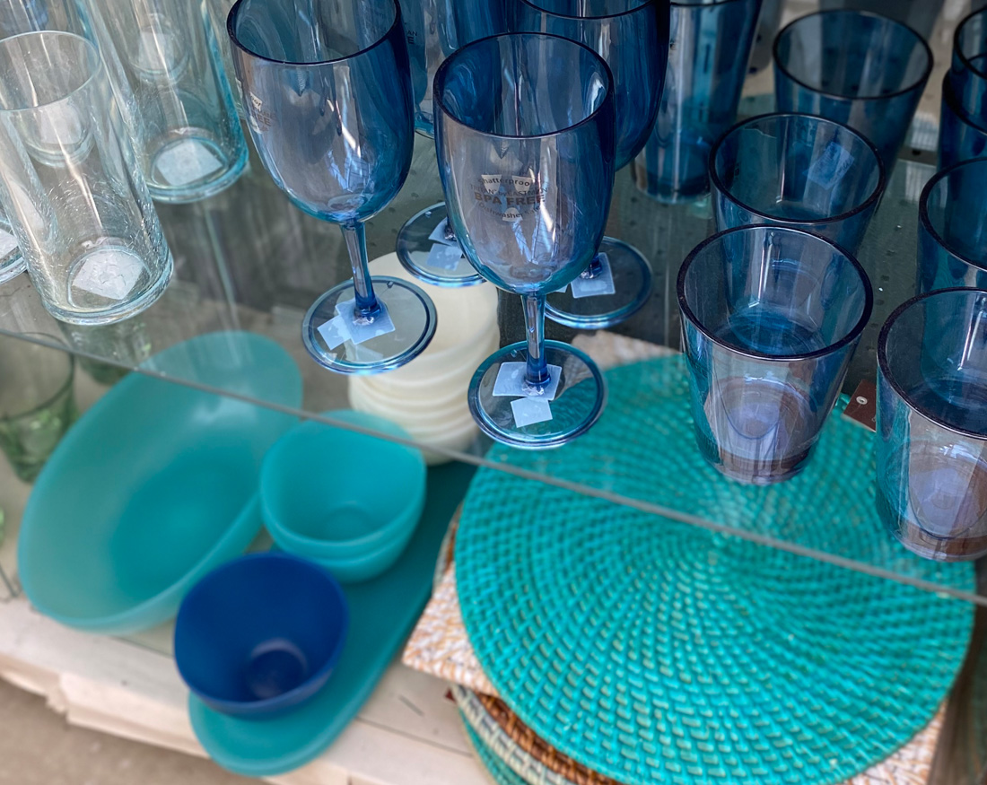 Blue Glassware and Table Settings