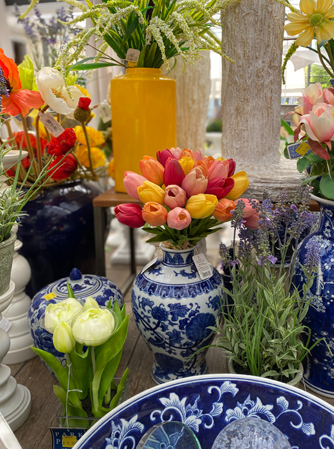 Gorgeous Fresh Flowers and Blue Vases