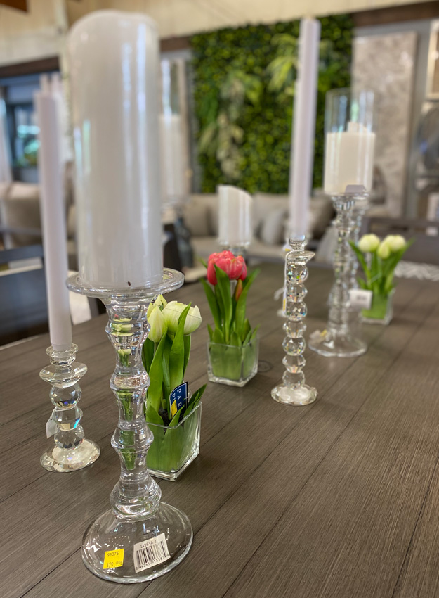 Clear Candle Holders and Place Setting Vases