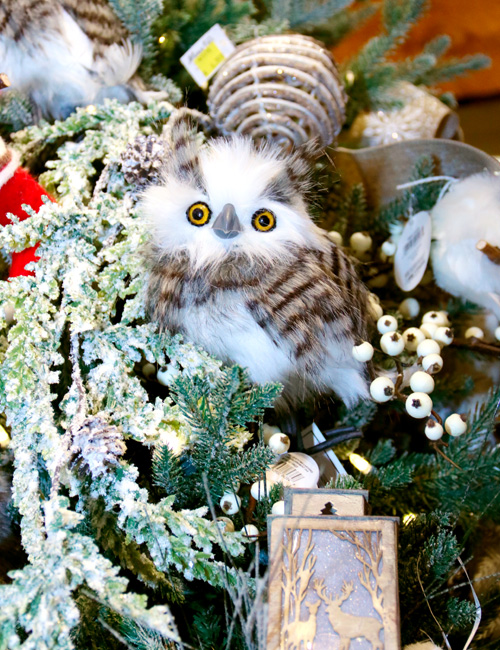 Another Cuddly Owl and Christmas Ornaments