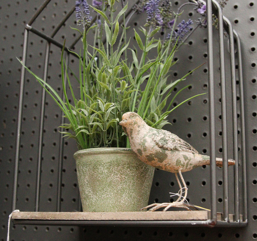 Cute bird figurine and plant