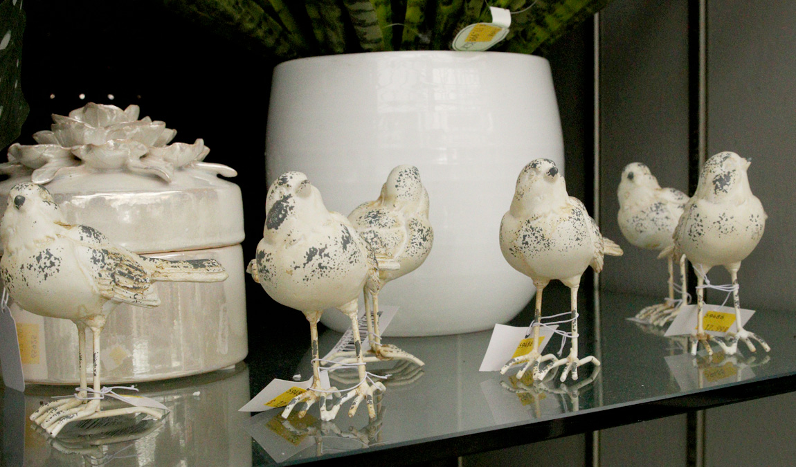 Cute decorative birds and ceramics
