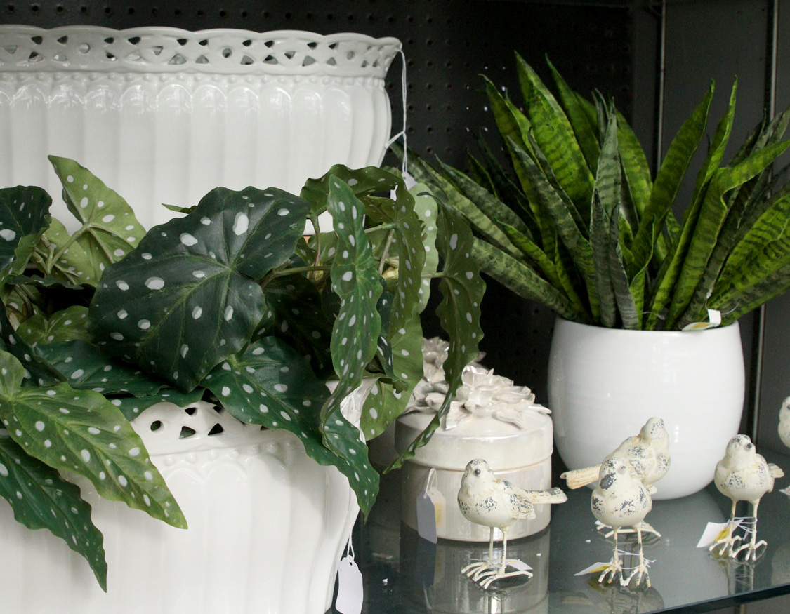White ceramic pots and planters with decorative birds