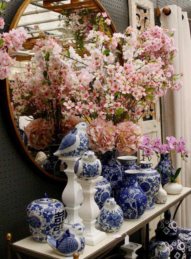 Blue Porcelain Birds and Pink Florals