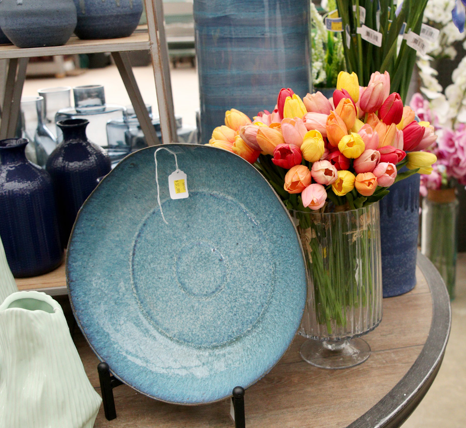 Gorgeous blue ceramics and colorful florals