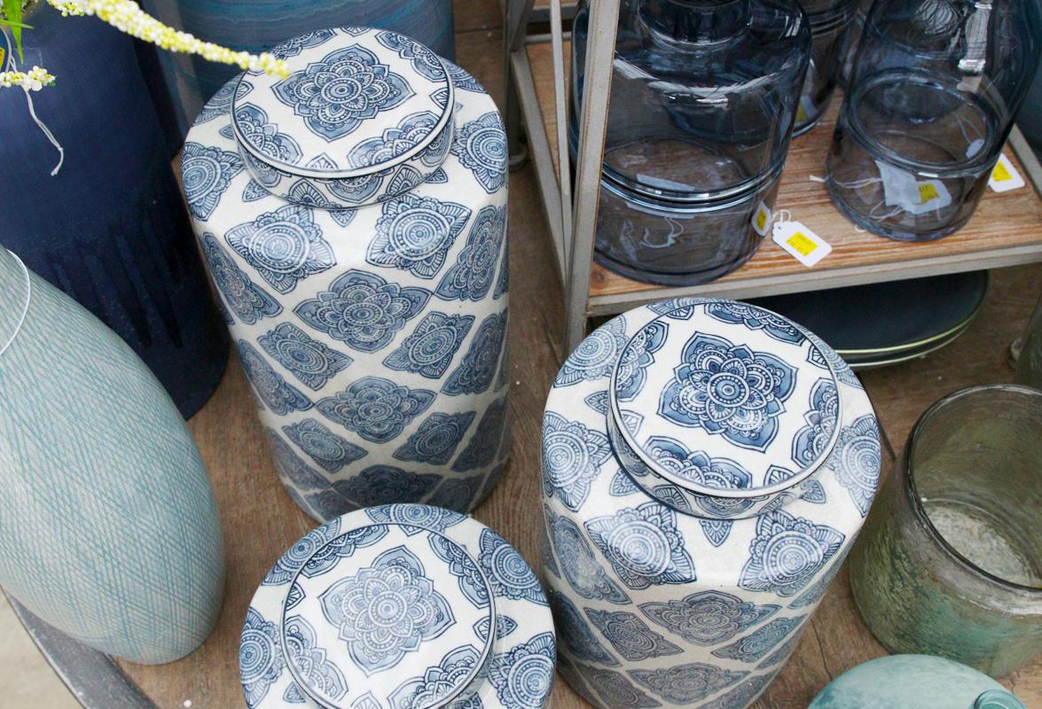 Ceramic jars and glass vases