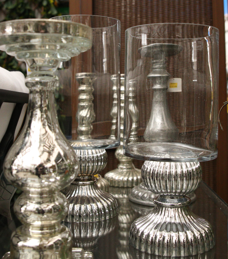 Glass and metal candle holders