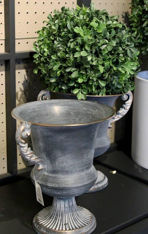 Metal urn and faux plants