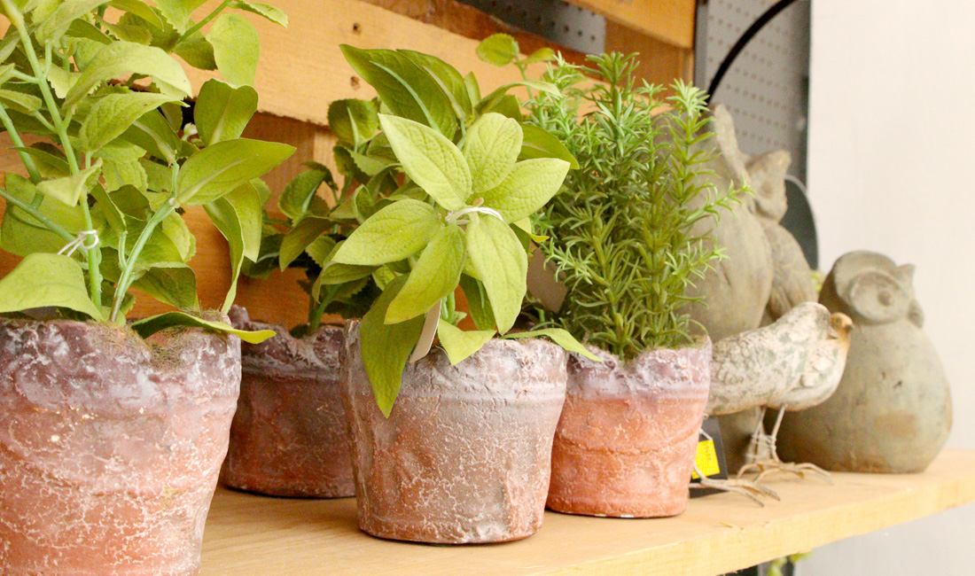 Rustic planters with faux plants