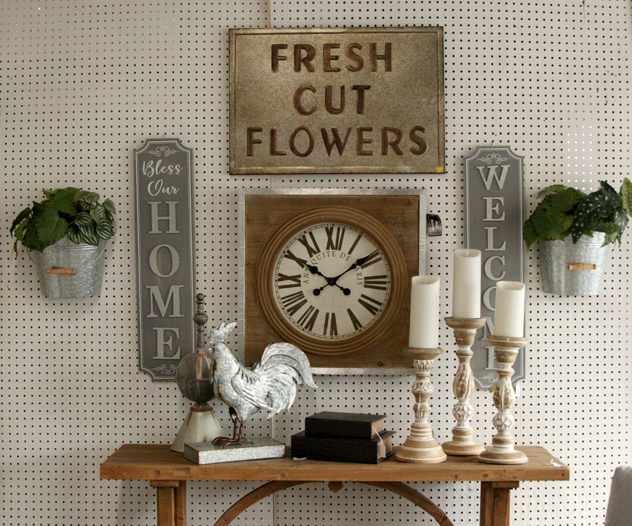 Rustic clock, signage and candle holders
