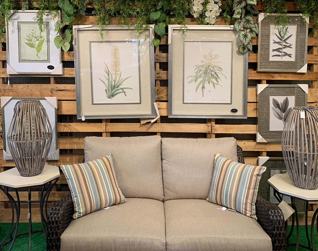 Framed Floral Prints, Throw Pillows, End Tables, and Floral Decor