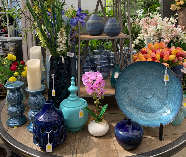 Blue Ceramics, Decorative Glass, and Floral Decor